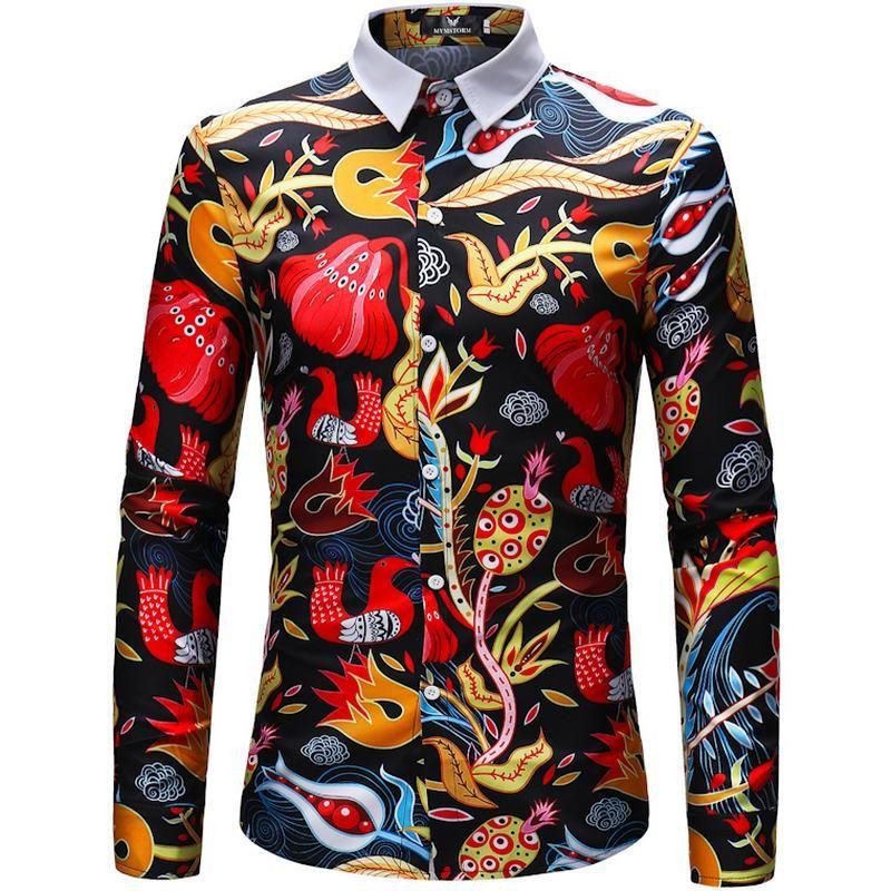 좋은 레트로 꽃 인쇄 남자 캐주얼 셔츠 패션 클래식 남자 드레스 셔츠 통기성 긴 소매 브랜드 의류 남성