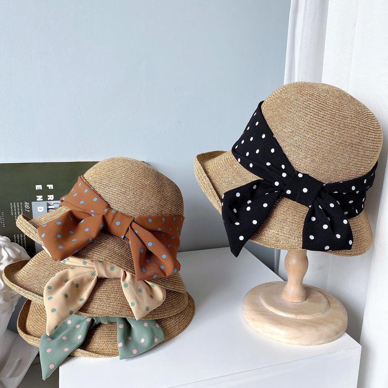 Irregular rollo borde verano pescador sombreros de moda lunar lunar arco vendaje paja gorra viaje visera playa sombrero para mujeres