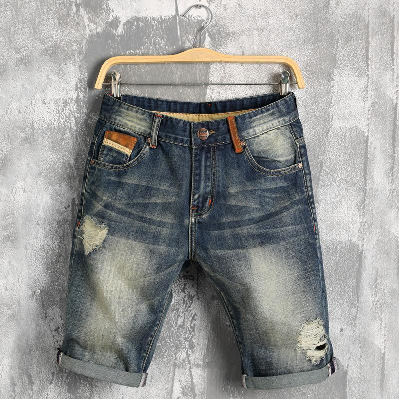 Mens Denim Shorts 2019 Summer Loose Jeans Men Short Casual Thin Jean Homme 88% Cotton Elasticity Distressed Korean Youth jean1