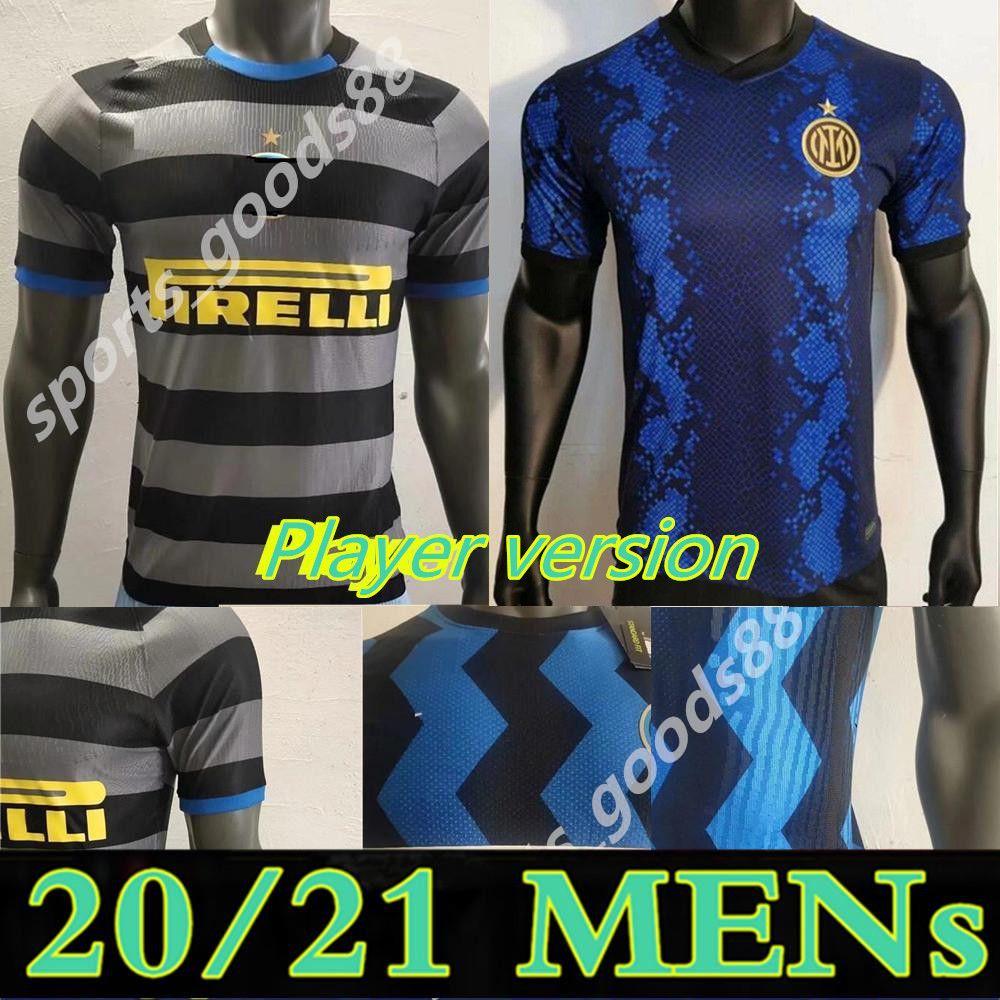 20 21 Versão do jogador Inter Home 3rd Eriksen Lukaku Lautaro Milan Soccer Jersey Sensi Barella Jersey 2020 2021 Camisas de futebol