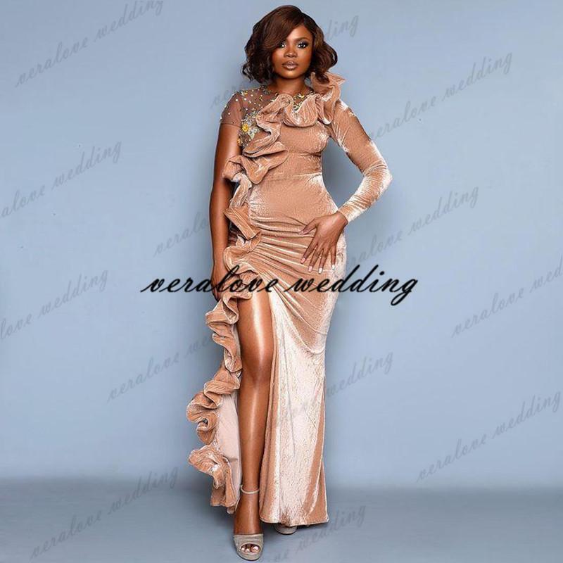 2021 Pink Velvet Prom Dress Mermaid High Split Long Sleeves Arabic Aso Ebi Evening Gowns Informal Reception Party Gowns