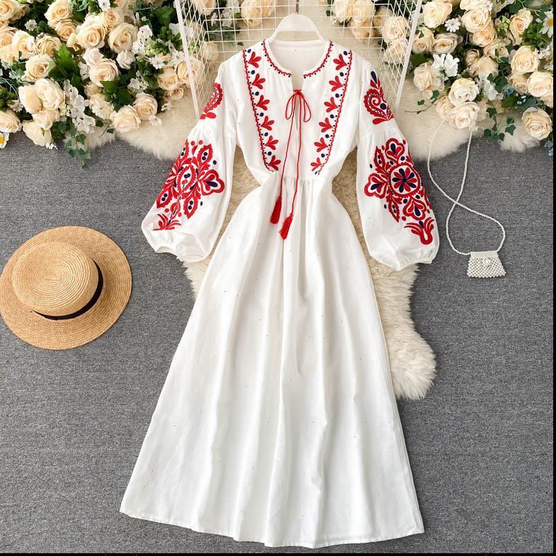 Frauen Damen Kleid Herbst Kleider Böhmen Gestickte Blume O Neck Laterne Hülse Hohe Taille Plissee Alle Spiele Female Vestidos GK393
