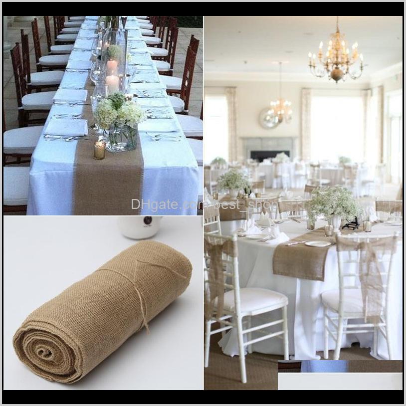 Runner Cloths Textiles Garden Drop Delivery 2021 Linen Roll Tablecloth Hessian Burlap True Colors 30Cm10M Chair Back Wedding Celebration Deco