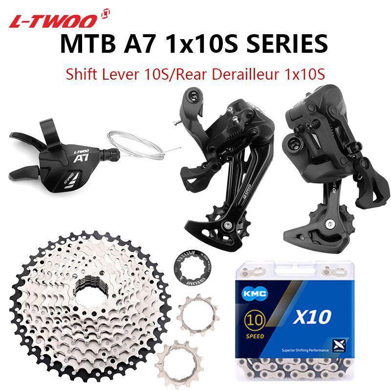 دراجة Derailleurs LTWOO A7 1X10 سرعة MTB شيفتر 10V مجموعة مع سلاسل KMC X10 11-40T / 42T / 46T / 50T كاسيت 10S