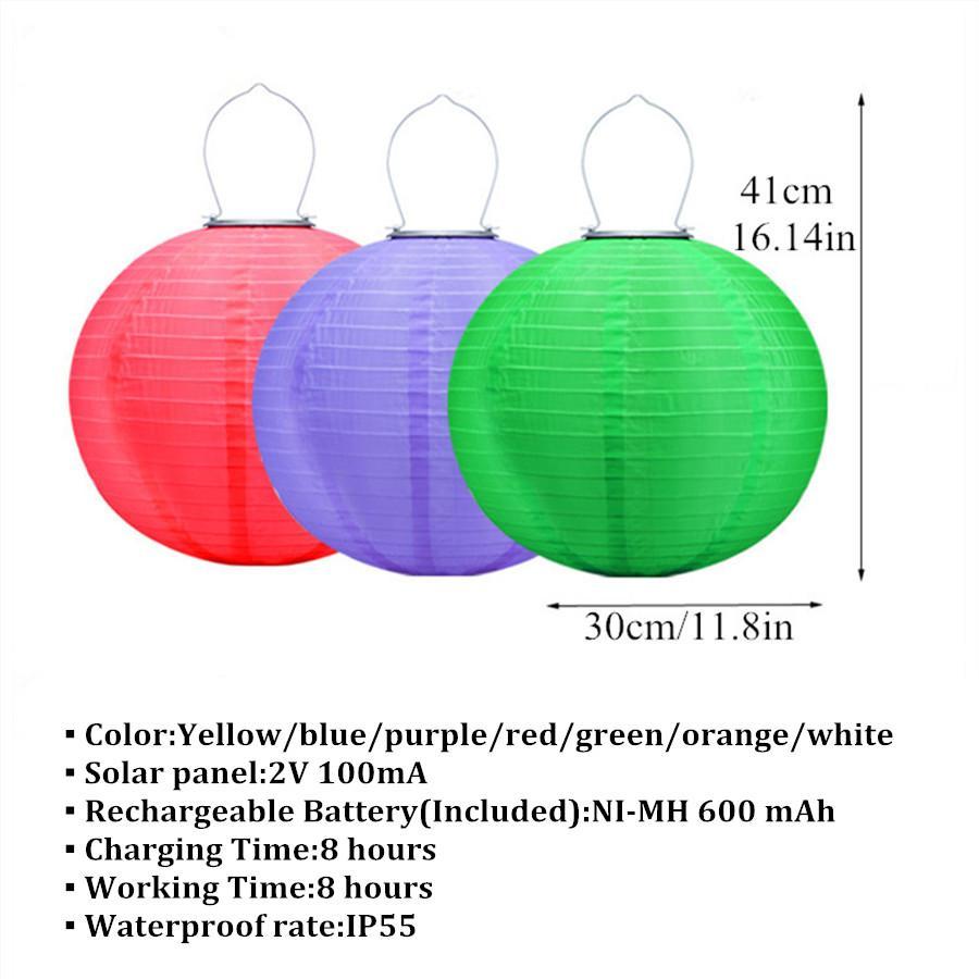 LED lanterna para decoração ao ar livre bolas chinesas energia solar lanterna partido decoração nylon lanterna impermeável lanterna
