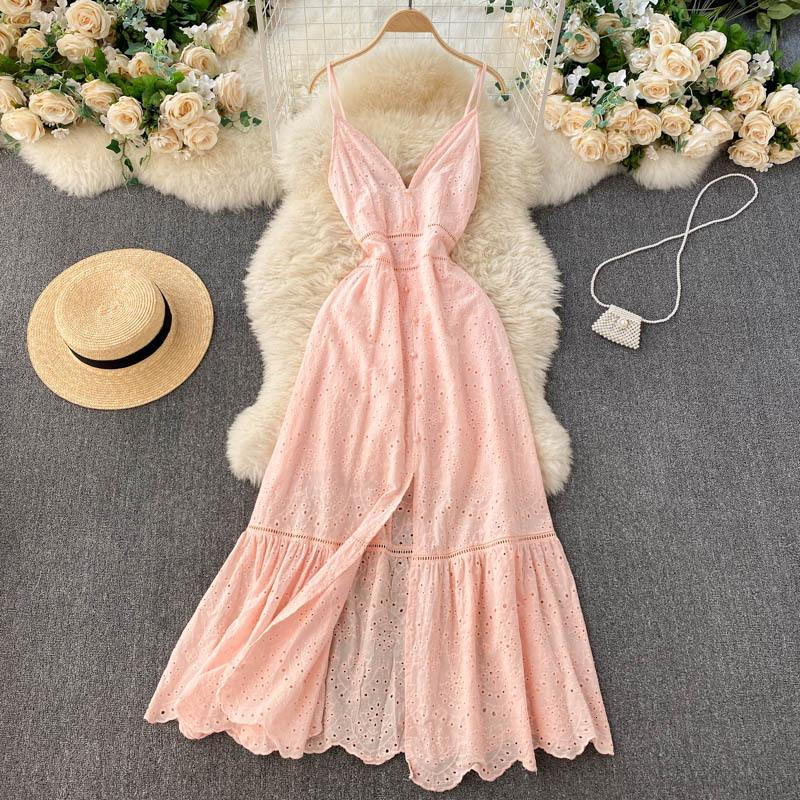 Women's Sweaters Vestido boêmio de verão novo estilo gk334, vestidos femininos com decote em v profundo, fivela slim-fit, fenda dividida babados IFPN