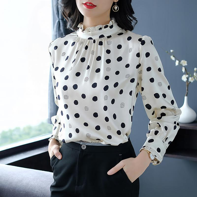 Us and European new products in spring of 2019 fashion wave point long sleeve printed shirt collar silk like blouseWDNK