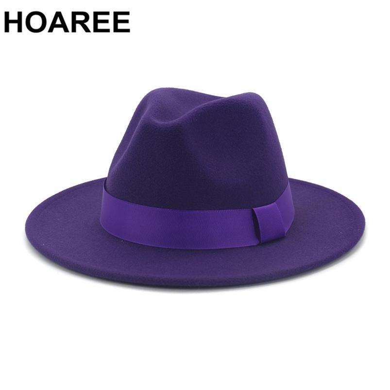 Wareee lã roxa feltro jazz fedora chapéus homens mulheres amplo sombrero símbrero estilo britânico trilby formal panam pap tampão vestido sólido 210608