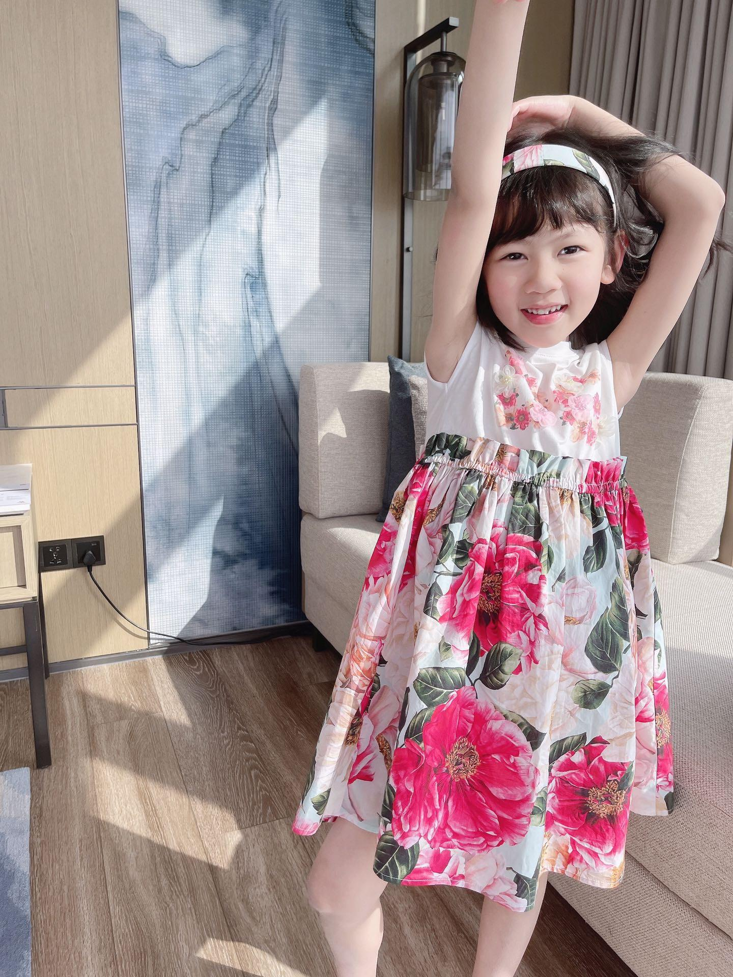 children floral dress kids girl summer sweet baby girls Cotton birthday party dresses fashion outwear clothing