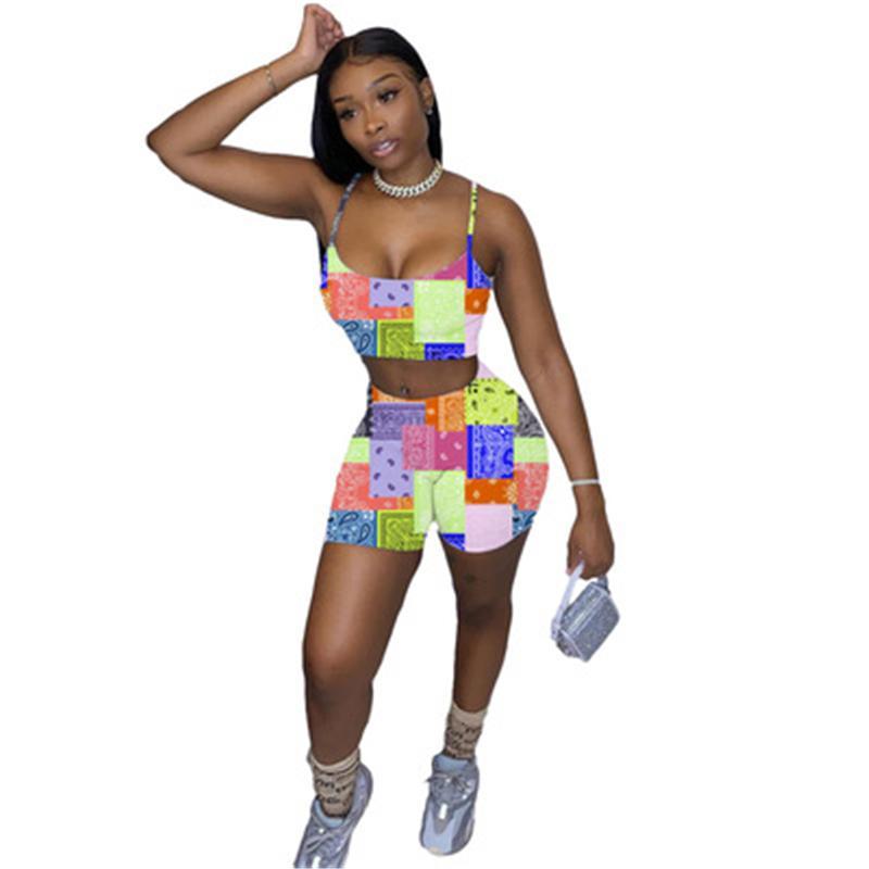Womens Caju Flores Padrão Padrão Tracksuits Moda Trend Sling Curtas Tops Shorts Suits Designer Verão Verão Feminino High Street Casual 2pcs Sets