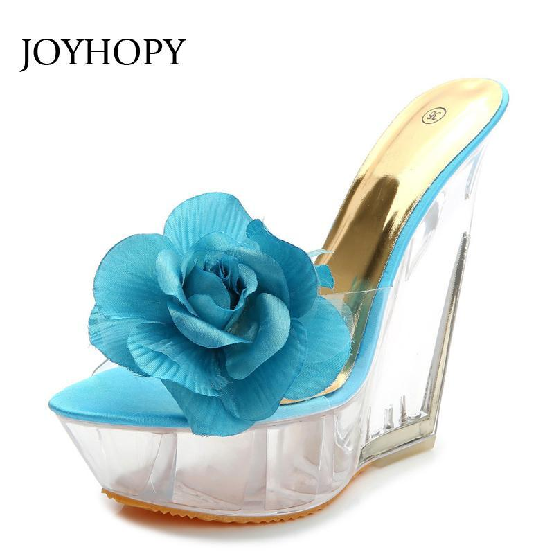 Cena Sandali con tacco alto Donna 2021 Transparent Crystal Shoes Fashion Party Flatform Wedges Flower WS1674