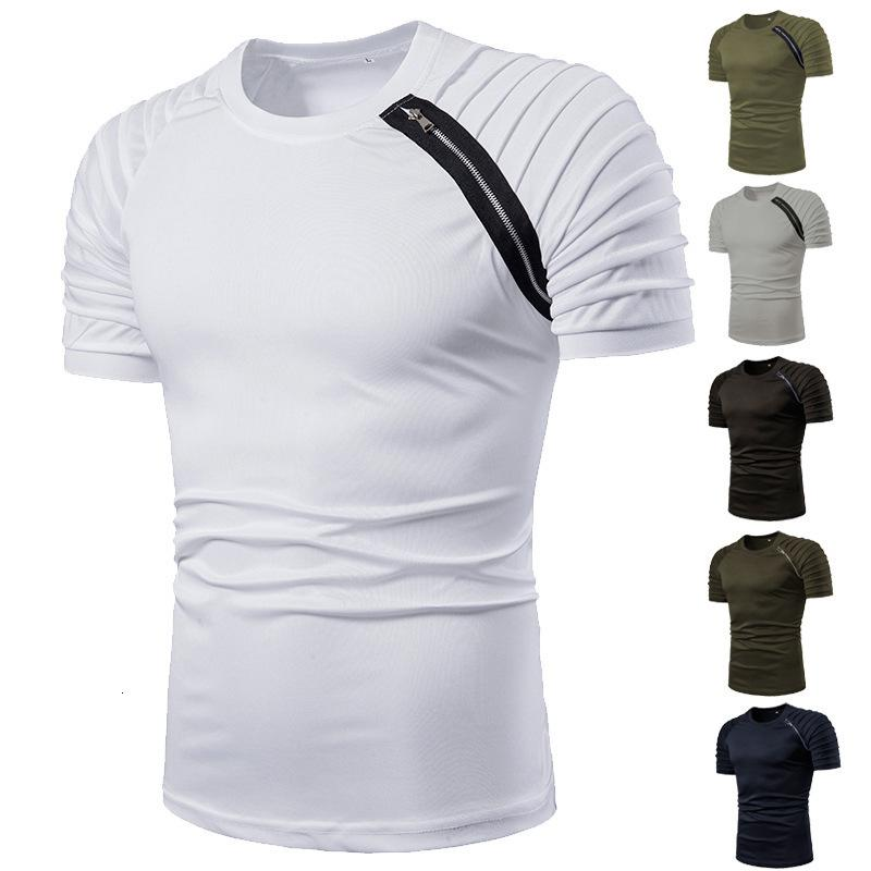 Fermuar süsleme pilili rahat kısa kollu gömlek erkek t-shirt