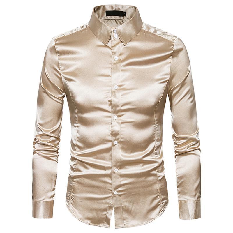 캐주얼 편안한 탑 남자 셔츠 슬림 피트 남자의 고품질 패션 광택 긴팔 옷깃 셔츠