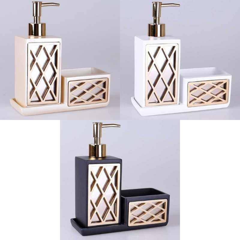 Dispensador de jabón líquido Cuarto de baño y accesorios de cocina Resistente Botella vacía Resina Material Felica Serie Platos