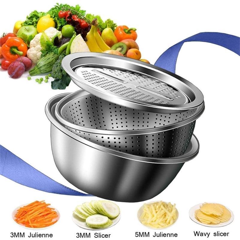 LMMETJMA 3 in 1 Slicer Cutter Drain Basket Edelstahl Gemüse Julienne-Reiber Salat Maker Bowl KC0410 201130