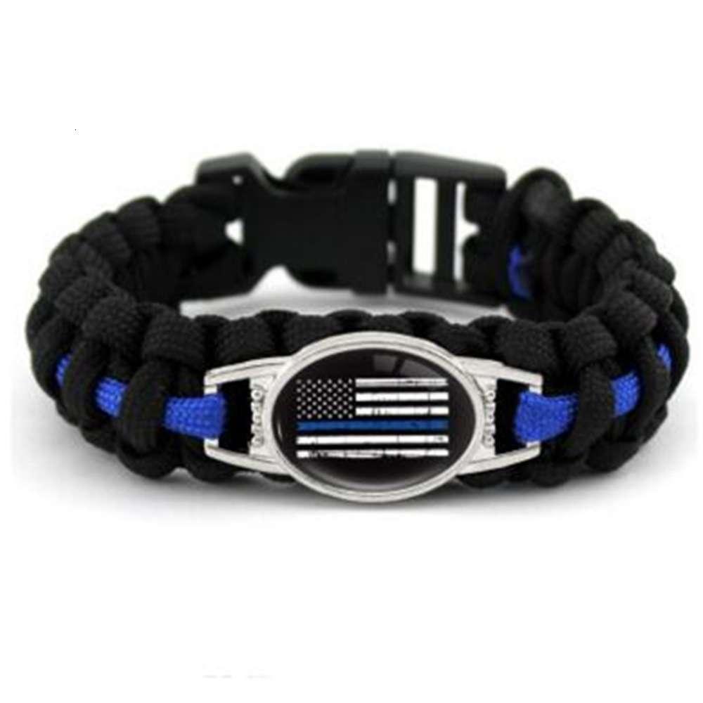 Schwarze blaue dünne blaue Linie Amerikanische Flagge zurück Die blaue Polizei Paracord Survival Armbänder Outdoor Self Survival Camping Armband Für Frauen