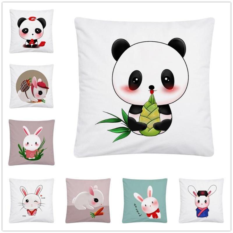 Cushion/Decorative Pillow Cute Panda Cartoon Pattern Soft Short Plush Cushion Cover Case For Home Sofa Car Decor Pillowcase 45X45 Cm