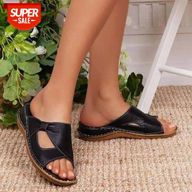 2021 Summer Shoes Woman Flat Platform Sandals Women Soft Leather Casual Fashion Open Toe Gladiator Wedges #wq5J