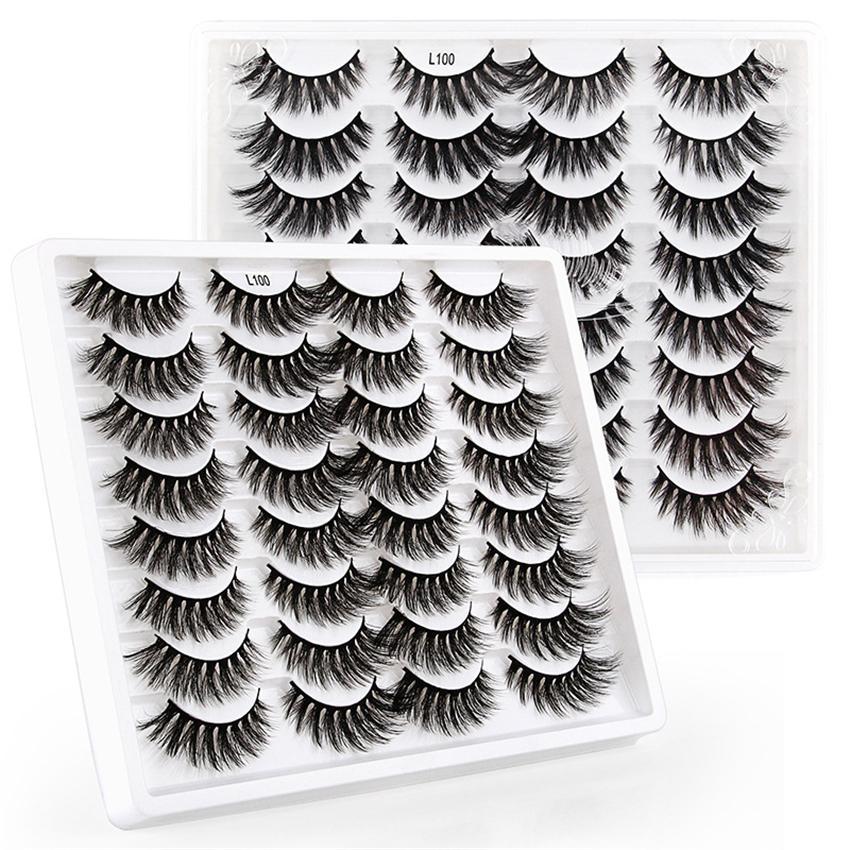 16 쌍 3D 가짜 밍크 속눈썹 도매 20mm 자연 긴 두꺼운 가짜 눈 속눈썹 메이크업 거짓 속눈썹 확장 속눈썹 핀셋이있는 12 가지 스타일