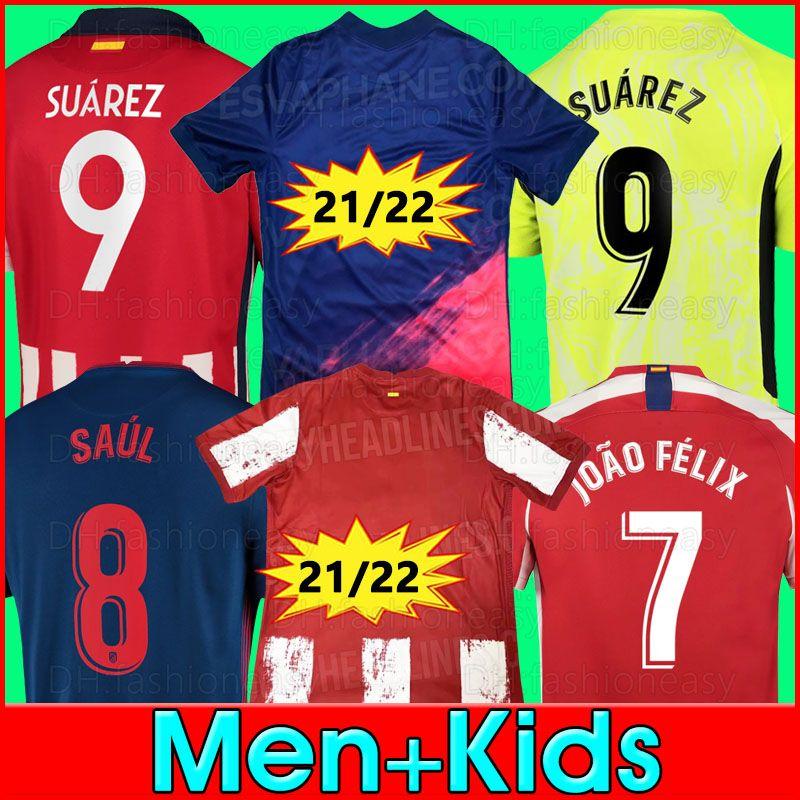 Joao Felix Soccer Jerseys 2020 2021 2022 21 22 사울 Camisetas Suarez Llorente Correa Koke 축구 셔츠 망 짧은 긴 저지 키트 키트