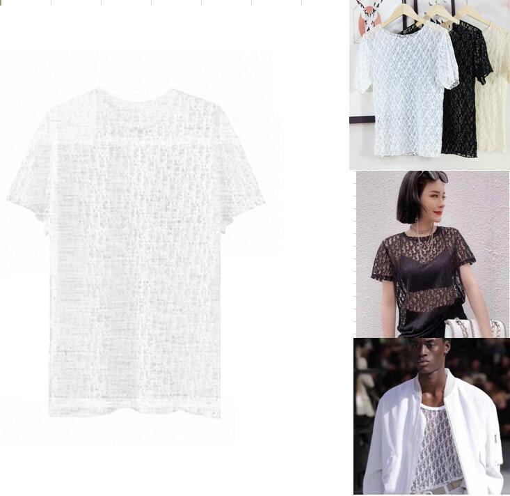 Mode Womens Bluse T-shirt Elegante Rüsche Blusas Hohl Mans Brief T-shirt Top Streetwear Casual Damen Hemden Stehen Männer Sexy Party Abendkleidung Club Sheer Tops