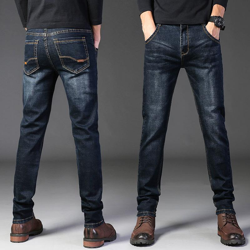 Four Seasons Jeans Slim Small Straight Sloed Elastic Large Casual Hombres jóvenes Pantalones