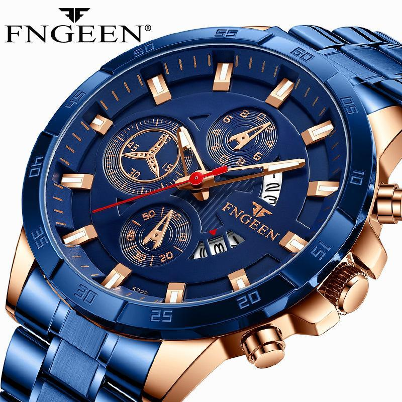 Wristwatches FNGEEN Luminous Watches For Mens Sports Luxury Top Brand Blue Stainless Steel Auto Date Waterproof Quartz Reloj Man