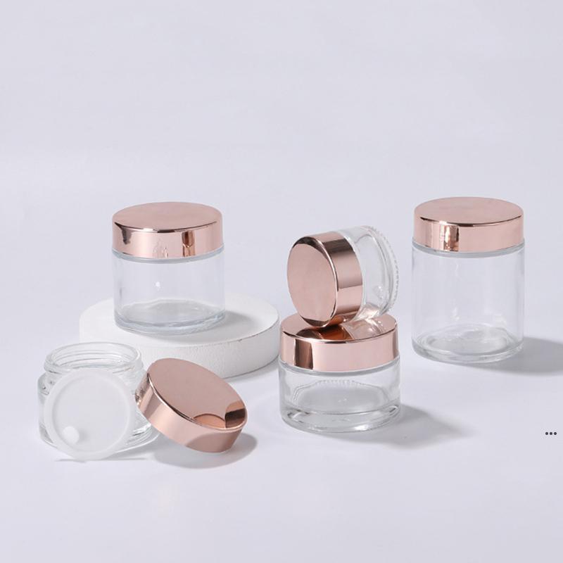روز شفافة زجاجة الذهب زجاجة الجرار الأغطية البلاستيكية التجميل pp بطانة 5 جرام 10 جرام 30 جرام 50 جرام 100g زجاجات التعبئة FWB7396