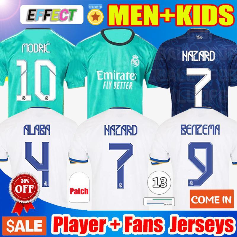 REAL MADRID Futbol Formaları 21 22 TEHLİKE Futbol Formaları SERGIO RAMOS BENZEMA ASENSIO MODRIC MARCELO Camiseta Kadın erkek + çocuk kiti Versiyonu 2021 2022 üniforma