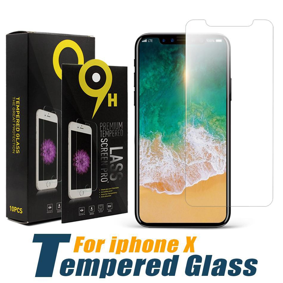 LCD Screen Protector Protective Film for iPhone X XS XR 12 11 Pro Max 8 7 6S Plus Tempered Glass 0.33mm with Paper Box