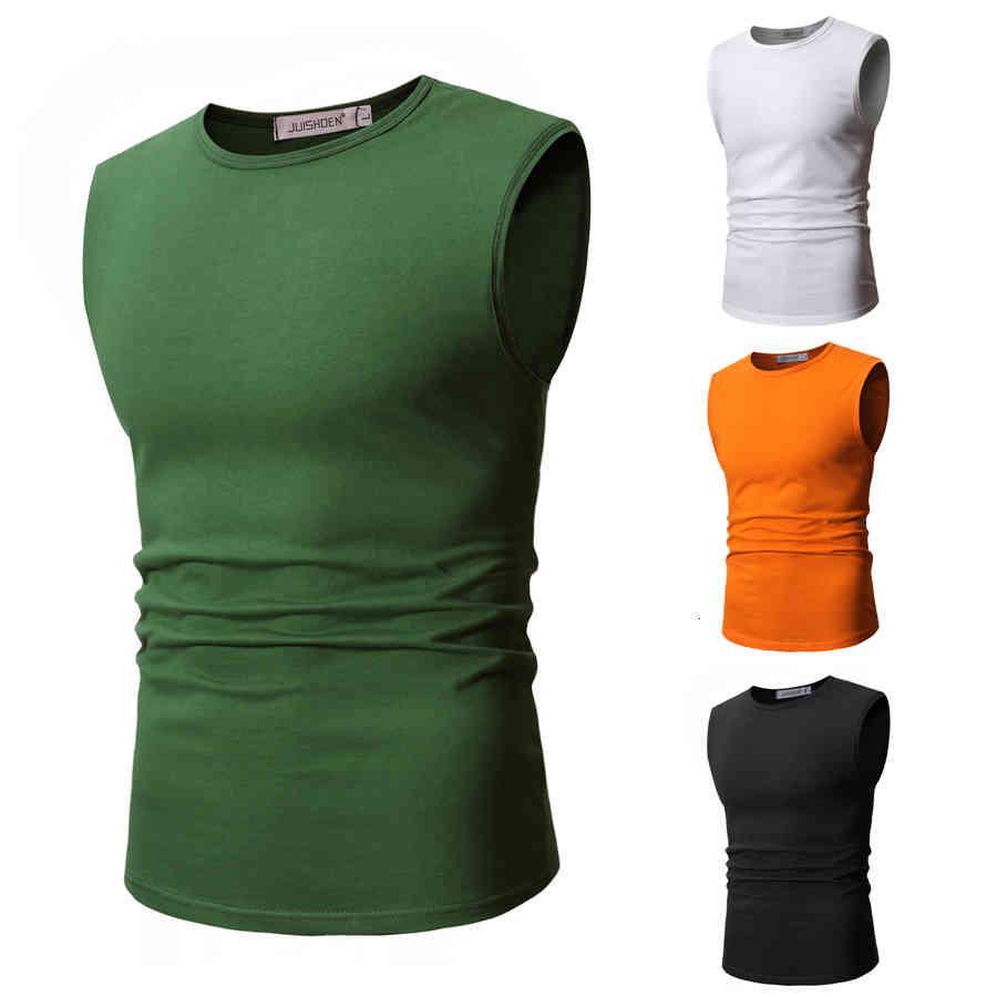 Männer T-Shirts Männer Weste Tank Tops Ärmellos Massive Baumwolle Runder Kragen Plus Größe Sommer Simple Type Casual SWC7