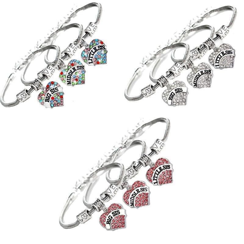 3 adet / takım Trendy Renkli Kristal Kardeş Aşk Kalp Charms Bilezik Boncuk Zincir Bileklik Aile Bilezikler Takı Hediye Link için,