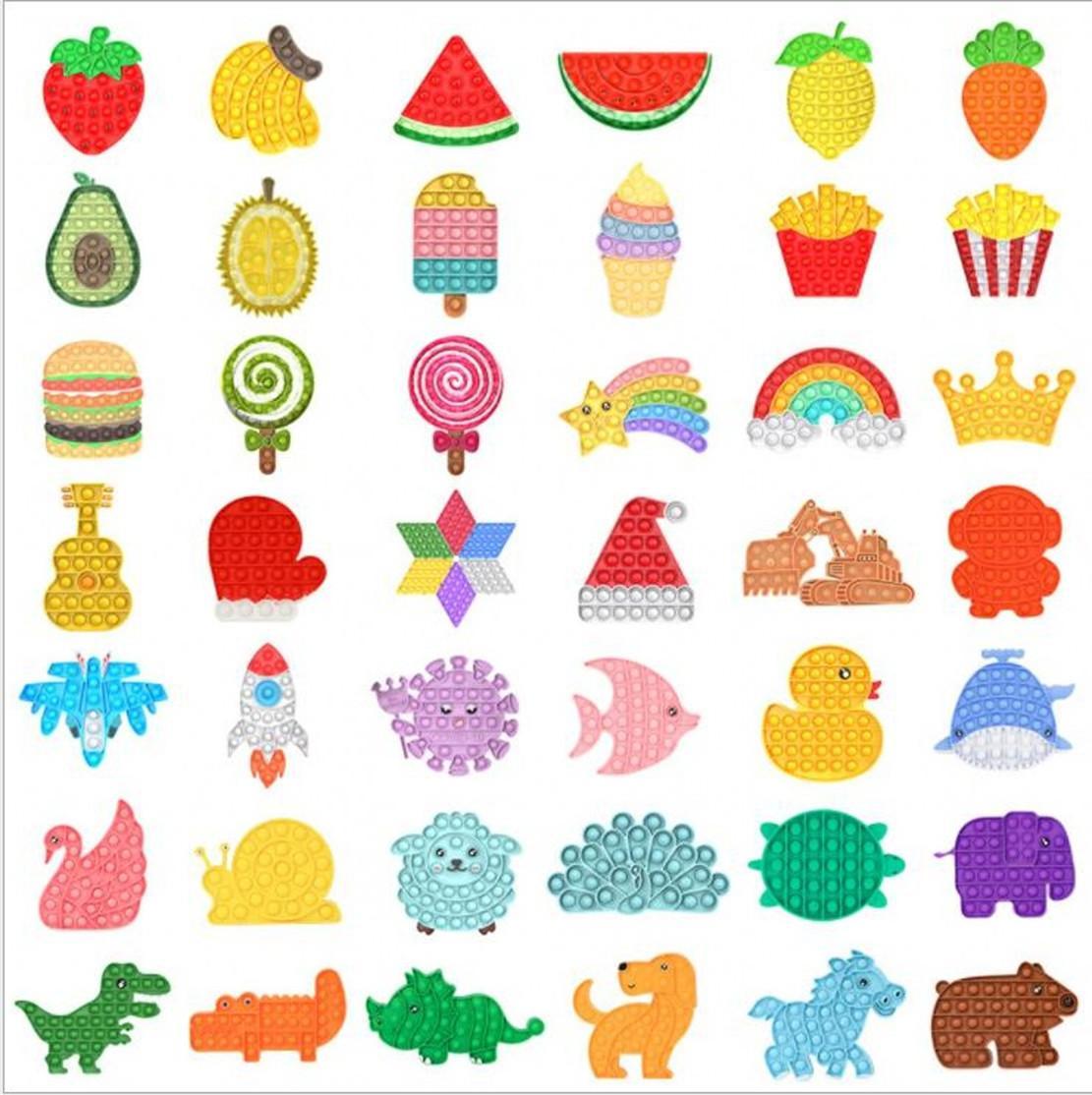 Tie-Dye Push Push Bubble Party Fidget Juguetes Análisis de estrés Sensory DecomPression Toys Ansiedad Alivio para niños Regalos de cumpleaños para niños DHL Envío FY2483