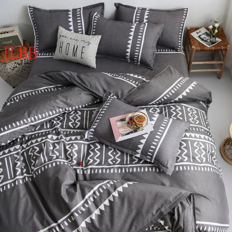 Bedding Sets Geometric Home Linen Twin/Full/Queen Set Reactive Printing Bedclothes 3/4pcs Duvet Cover+Flat Sheet+Pillowcase Polyester