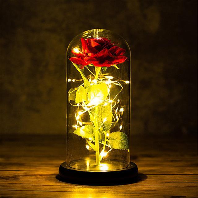 LED gece lambası folyo çiçek cam kapak takımı gelin nedime hediye düğün dekorasyon olay parti dekor kırmızı gül siyah taban üzerinde