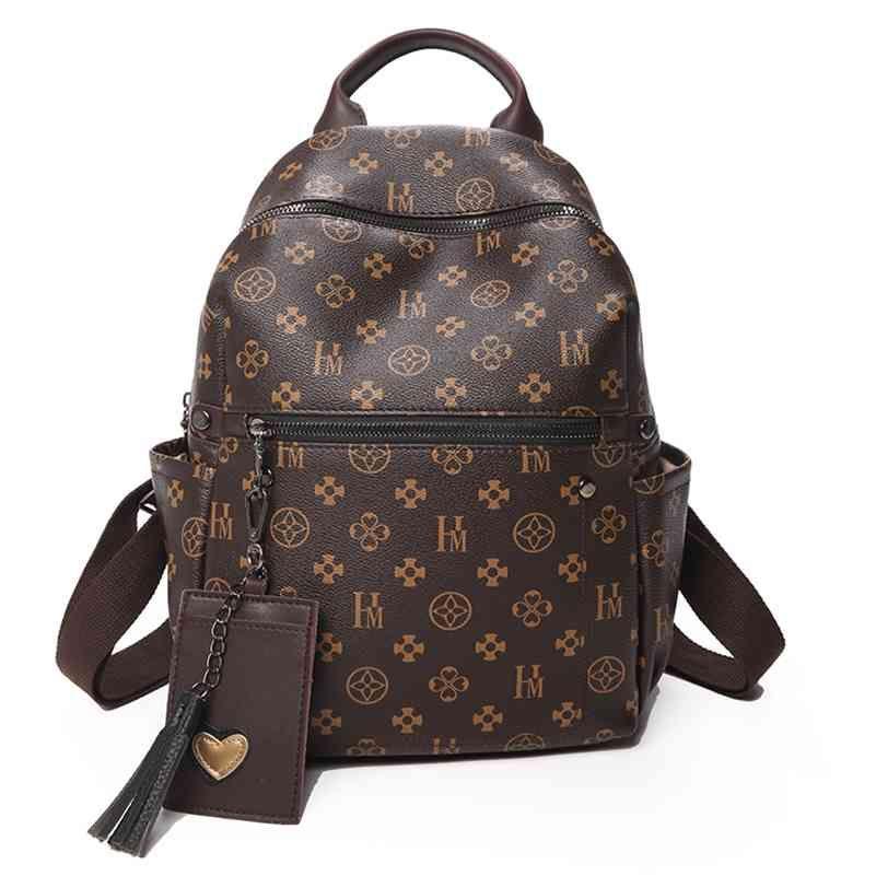 Classic Imprimindo Mochila PU Designer de couro Backpack com borla luxuoso mochila vintage de alta qualidade mulheres sacos 210401