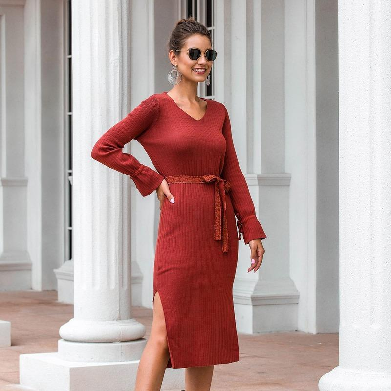 Lässige Strickkleider Frauen Ankunft Herbst Winter Langarm V-Ausschnitt Kleid Damen Elegante Midi mit Spitzengürtel