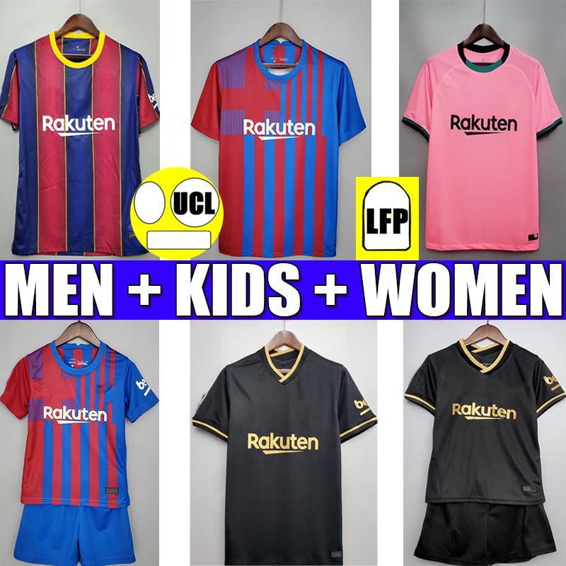 برشلونة لكرة القدم جيرسي BARCA 20 21 22 camiseta futbol ANSU FATI 2021 2022 MESSI GRIEZMANN F.DE JONG طويلة الأكمام Maillots de football قميص النساء والرجال والأطفال طقم مجموعات