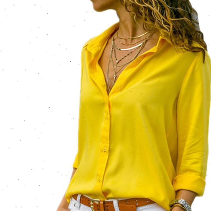 Kadın Bluzlar Sarı Şifon Bluz Seksi Sonbahar Uzun Kollu Düğme Asimetrik Gömlek Kadın İş Giyim Artı Boyutu WDC2096