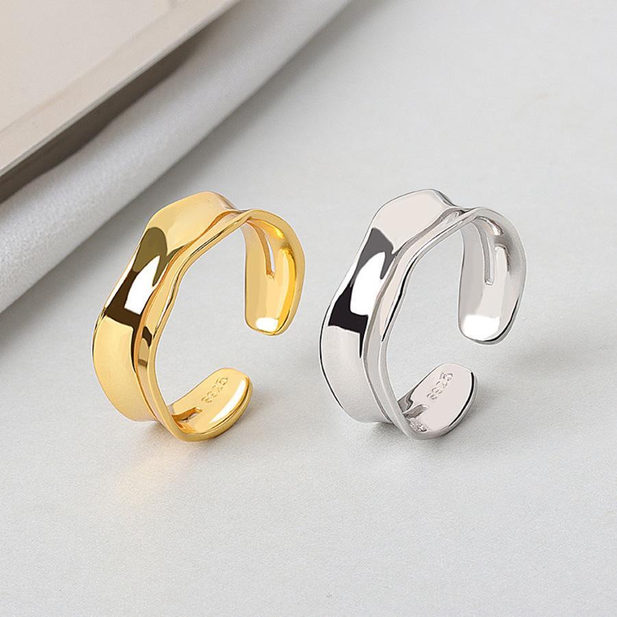 S925 plata esterlina irregular convexo convexo convexo ancho anillo abierto estilo mujer extremadamente simple y lujoso viento frío chapado en oro vfny