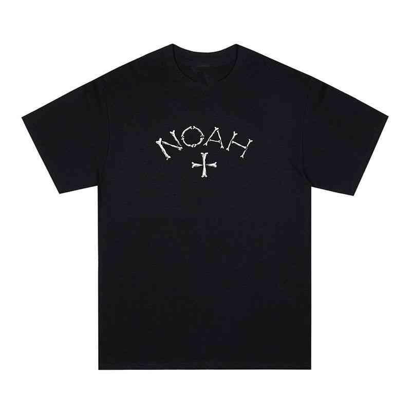 Camiseta de manga corta de la impresión de los huesos de la letra de Noah de los hombres y la camiseta de manga corta