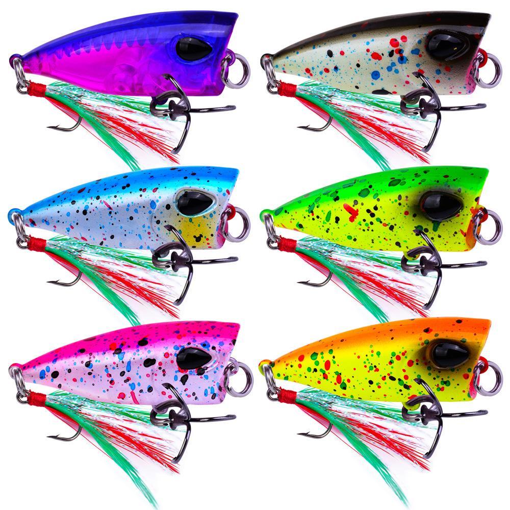 Kısa Popper Tatlısu Balıkçılık Cazibesi 4G 4.3 CM Renkli ABS Plastik Mini Poper Kuyruk Kancası ile Sert Yem