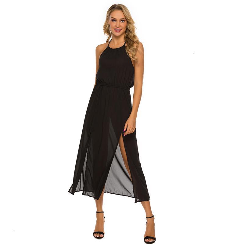 Dress Summer Donne O Supporto per il collo Sling Laterale Spalato Midi Femmina senza maniche Solid Colour Party Chiffon ES