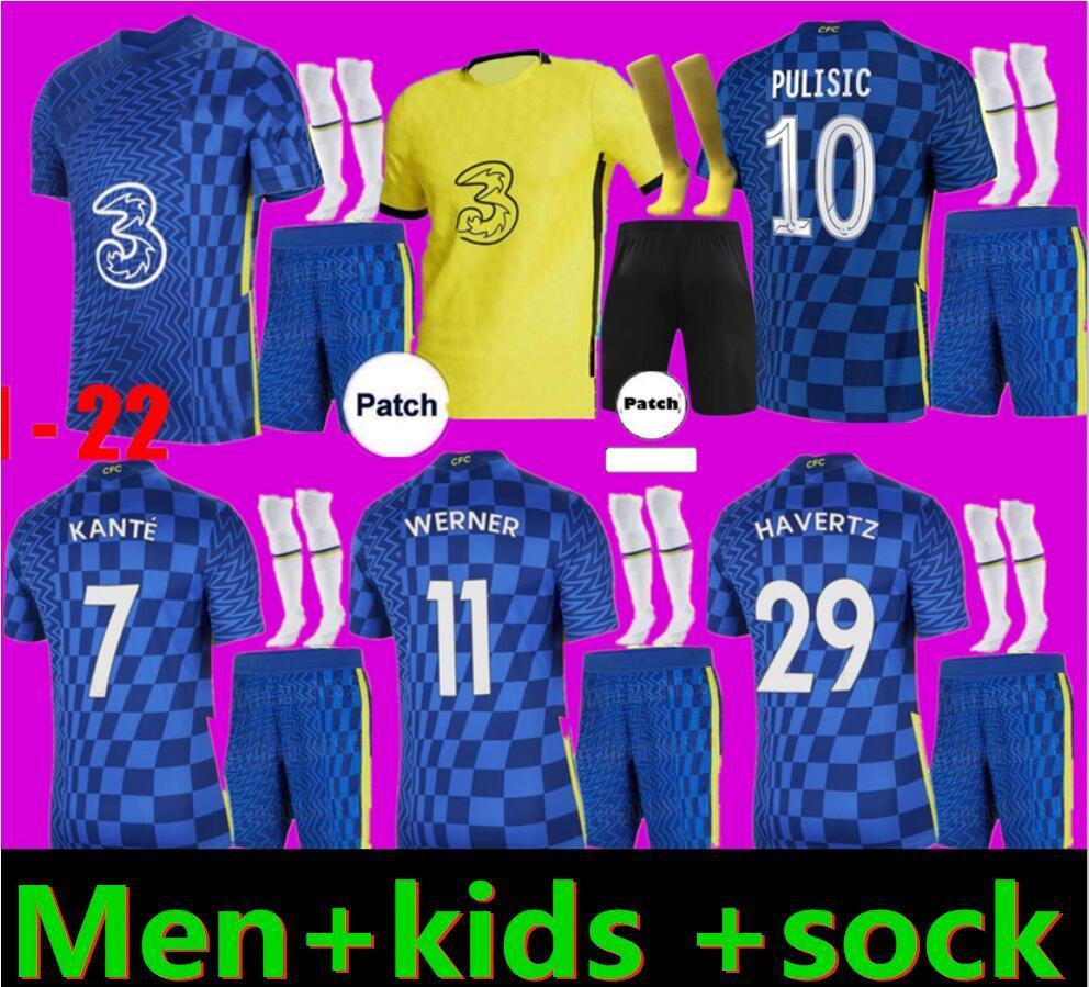 성인과 아이 22 22 Werner Pulisic Kante Men 축구 유니폼 유니폼 마운트 Chilwell Ziyech 2021 2022 시즌 홈 블루 축구 키트 셔츠