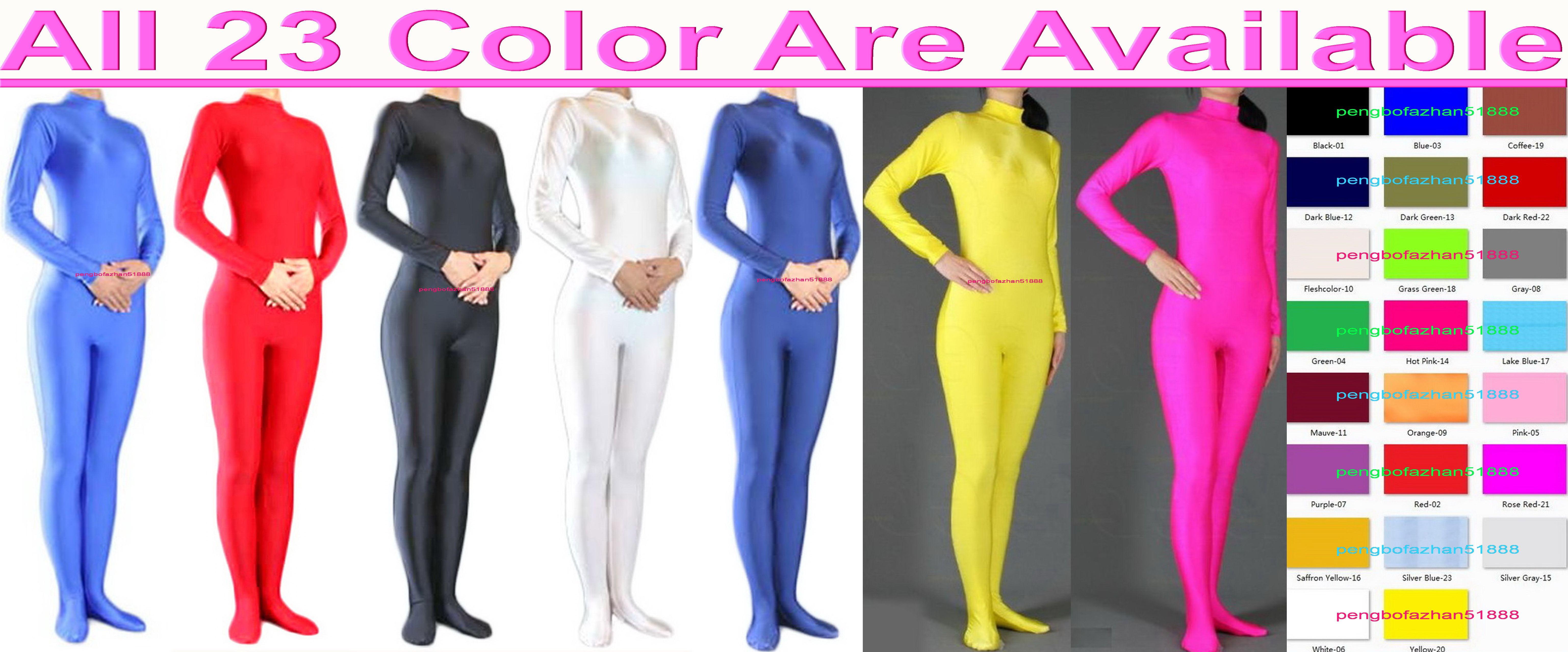 Unisex 23 Farbe Lycra Spandex Catsuit Kostüm Zurück Reißverschluss Sexy Frauen Männer Körperanzug Kostüme Kein Kopf / Hand Halloween Party Fancy Kleid Cosplay Bodysuit P013