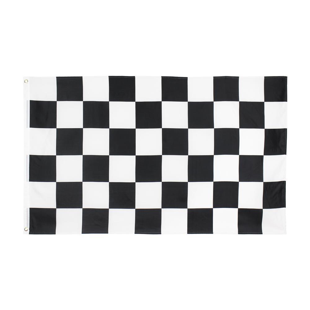 Damalı Bayrak Büyük 3 X1.5 FT Ayak Sporları Siyah Ve Beyaz Yarış Bayrakları Banner 90 * 150 cm Polyester Pirinç Grommets ile Ev Bahçe Duvar Tekne Dekor