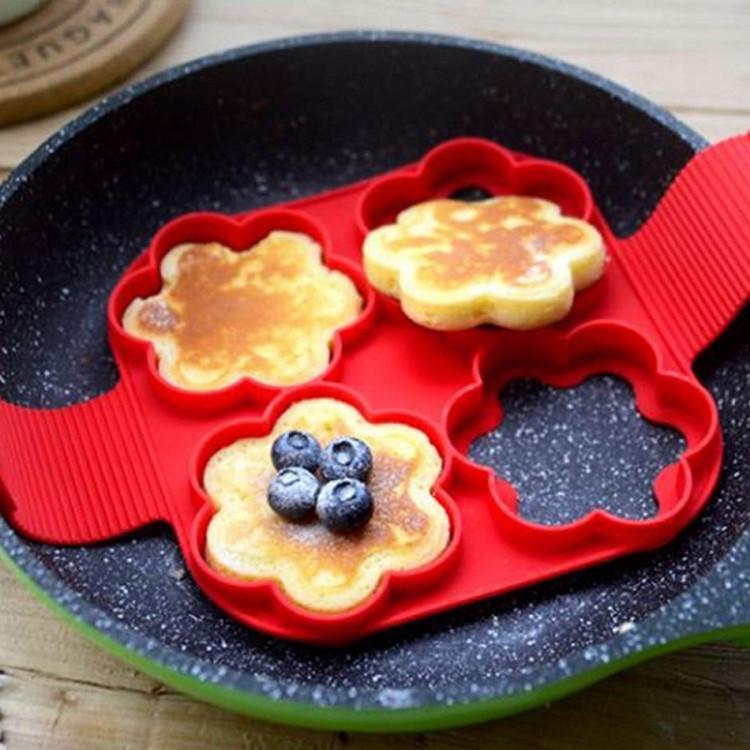 Moule d'œuf Crêt Crêt Crêt Crêt Bague antiadhésive Silicone Moule Cuisinière Oeufs Frit Shaper Omelet Moules pour accessoires de cuisson de cuisine