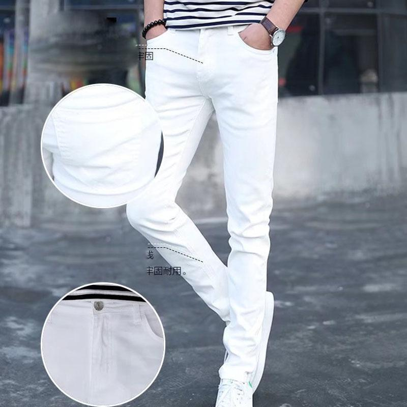 Fashion 2021 Denim Casual Jeans da uomo Stretch Youth Summer Summer Slim Pants Coreano Trendy Bianco Bianco A Long Matita