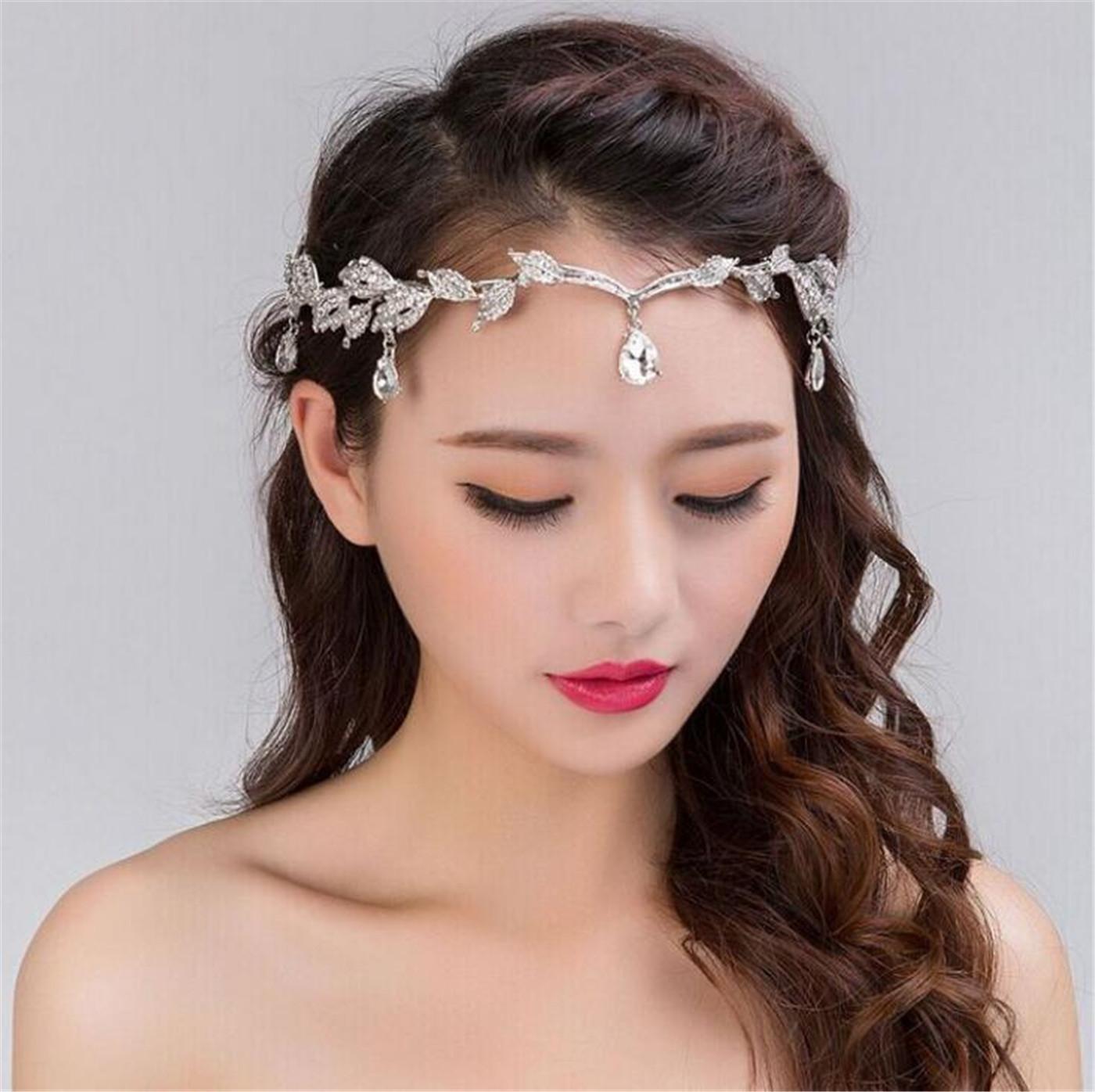 Cristal Bridal Tiara Coroa de Casamento Headband Headband Hapridemaid Jóias Acessório Rhinestone Waterdrop Folha Frontline