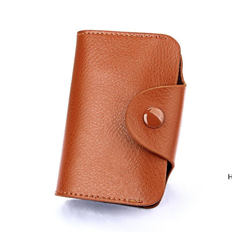 Basit Tasarım Unisex Organ Kartvizit Çanta Tutucu Hakiki Deri Banka Kart Kılıfı Moda Hasp Cüzdan Sikke Çanta Şeker Renk DHE5839